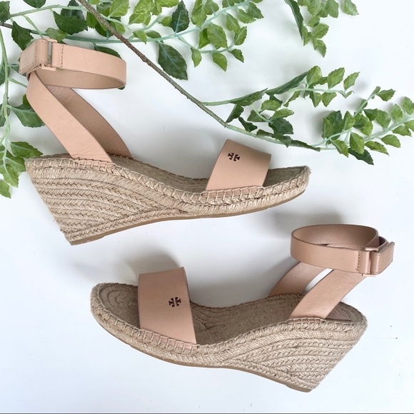 Tory Burch Bima 2 Leather Ankle Strap Wedge Espadrille Sandals